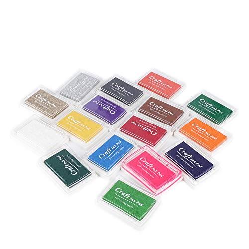 16-pack Craft Ink Pad Stamps Impresión de bricolaje Craft Stamp Pad para papel, tela de madera y dibujo de huella digital, Scrapbooking