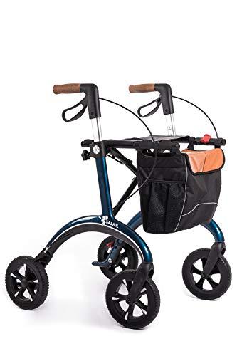 Premium Rollator aus Carbon von Saljol, schicker Reisebegleiter mit Weich-Reifen, Sitzhöhe 54 zuschaltbare Schleifbremse, 5.8kg leicht, midnight blue