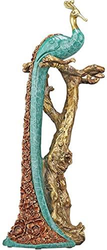 YANGHONDD Escultura Decoración Estatuas Figuritas Escultura Estatuilla Decoración Estatua Cobre Puro Pavo Real Estatua Decoración Soporte De Copa De Vino Decoración De Gabinete De Vino