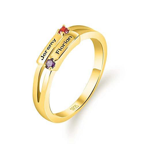 nisake Personalisierte Sterling Silber Versprechen Ringe Birthstone Mutter Ring mit Kindernamen für sie Eingraviert