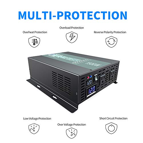 1500W Continuous/ 3000W Peak Pure Sine Wave Inverter DC 12V to AC 120V Car Power Inverter with Dual AC Outlets