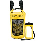 TUFF HERO Waterproof Dry Bag Backpack 10L 20L – Roll Top Stuff Sack with Shoulder Straps and Waterproof Floating Phone Pouch for Kayaking, Boating, Fishing, Beach, Camping, Canoe, Gifts for Men Women