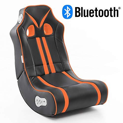 Wohnling® Soundchair Ninja in Schwarz Orange mit Bluetooth | Musiksessel mit...