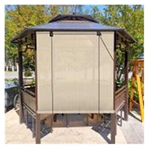 XJJUN Außenrollo, Atmungsaktiver Stofffilter Licht Atmungsaktiver Außenmarkise Sichtschutz, Für Pergola Garten (Color : Beige, Size : 0.6x2m)