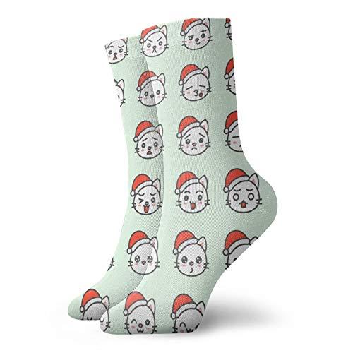 Anime calcetines Lindo Gato de Santa Emoción Cara En Varias Expession Super suave de secado rápido transpirable deportes calcetines unisex de la tripulación calcetines de 30 cm