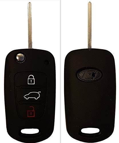CK+ Kia Auto-Schlüssel Hülle Key Cover Case Etui Silikon für Rio Ceed Picanto Optima Carens Soul - Schwarz