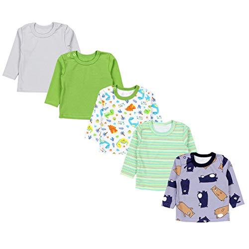 TupTam Baby Jungen Langarmshirt Gestreift 5er Set, Farbe: Mehrfarbig 7, Größe: 98