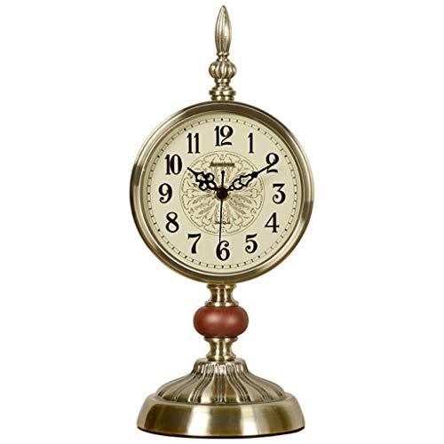 A-ZHP Decoración del Reloj Europeo Metal de la Manera Mute Reloj Retro Sala de Mesa del Arte del Reloj de Cuarzo Relojes del Metal del Color