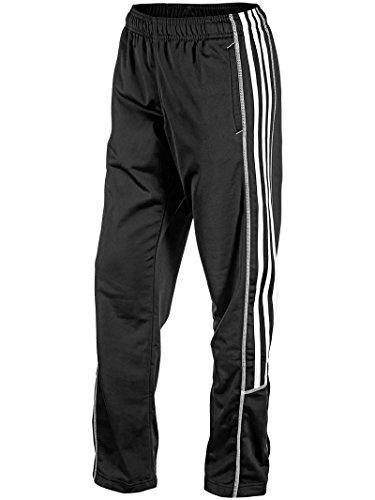 adidas Pantalón de chándal para mujer, color negro, Recto, XS, Negro/Blanco