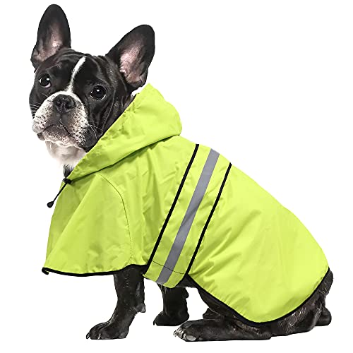 Ezierfy Waterproof Reflective Dog Raincoat- Adjustable Pet Jacket, Lightweight Dog Hooded Slicker Poncho for Small to X- Large Dogs and Puppies (Neon Green, Small)