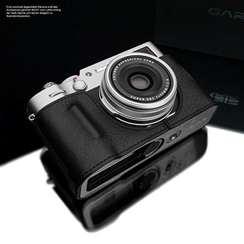 GARIZ Design Kameratasche für Fujifilm X100V Kamera | Fototasche aus italienischem Leder | Half Case für Fuji X100V | Systemkamera Tasche: Schwarz | Ledertasche Naht: Schwarz HG-CHX100VBK