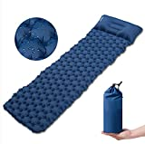 Camping Sleeping Pad - Mat with Pillow Sleeping mat for Adults Camping Ultralight 1.32lb, Lightweight Sleeping mat Camping for Backpacking Tents self Inflating with Carrying Bag (Blue)