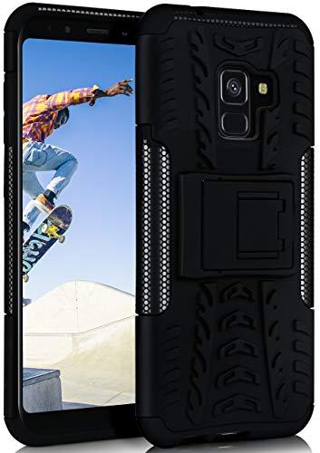ONEFLOW Tank Hülle kompatibel mit Samsung Galaxy A8 (2018) - Hülle Outdoor stoßfest, Handyhülle mit Ständer, Kamera- & Displayschutz, Handy Hardcase Panzerhülle, Obsidian - Schwarz
