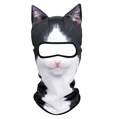 YOSUNPING 3D Animal Ears Balaclava,Cute Full Face Hood Mask Cover for Ski Snowmobile Riding Hunting Halloween Party Activities Music Festivals Raves British Tuxedo Cat 18
