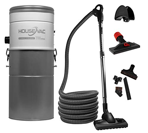 HouseVac Aspirapolvere centrale HV-700ST-35H + kit di accessori da 9m |potenza di aspirazione 700 AirWatts, motore Ametek da 1700 W, 2 turbine | Soft Start Stop| Filtro ciclonico ibrido