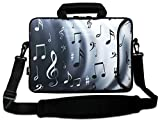 AUPET 16 16.5 17-17.3-Inch Water Resistant Neoprene Sleeve Notebook Neoprene Messenger Case Tote Bag with Outside Handle and Adjustable Shoulder Strap & Extra Pocket(Music Note)