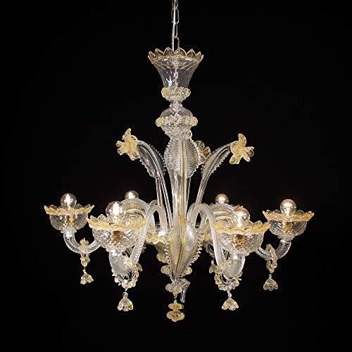 Lampadario Murano VENIER 5 luci - Realizzato in vetro cristallo trasparente con lavorazione a rigadin ritorto e baloton, decorazioni in ambra, parti metalliche dorate