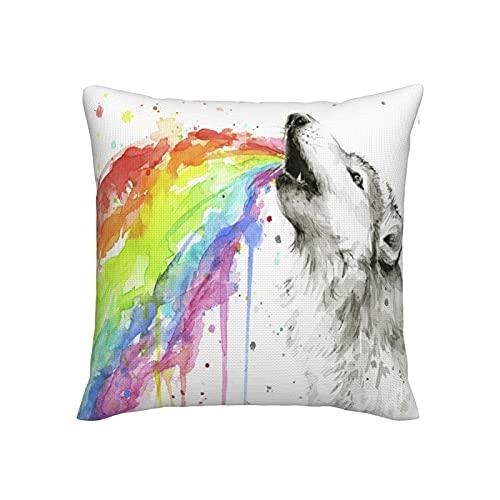 Wolf And Rainbow - Fundas de almohada suaves y sedosas para sofá, decoración del hogar, 45,7 x 45,7 cm