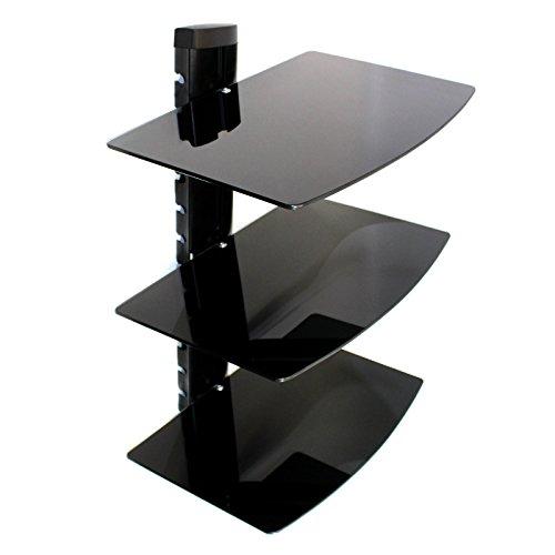 Maison & White Consolas flotantes de vidrio negro templado | Consolas de montaje en pared / Reproductores de DVD | 3 Pisos