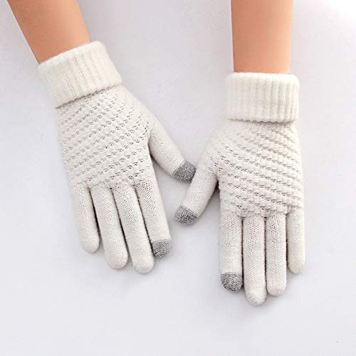 DamenhandschuheWinter Touchscreen Schwarze HandschuheMujerHiver Femme Rekawiczki Gant Luva Eldiven-White-One Size