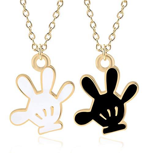 guodong DIY Cartoon Baseball Handschuh Charms Anhänger niedlich Kawaii Tiny Emaille schwarz weiß Handschuhe Halsketten für Kinder Schmuck Bijoux Femme