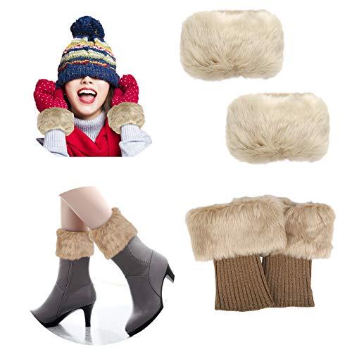 LANMOK 1 Paar Beinwärmer Stiefelstulpen mit 1 Paar Fell Manschette Fell Stulpen Socken Damen Winter Warm Knie Handgelenk Khaki Kunstfell deko