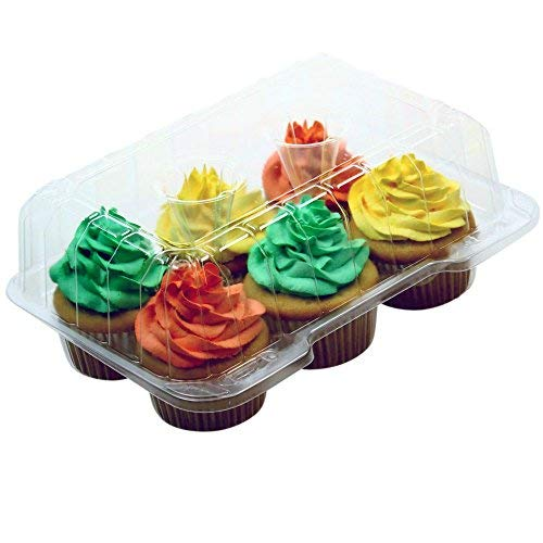 """Premium Clear Cupcake Container Boxes - 4"""" High Dome with 6 Slot/Compartment - Durable Cup Cake Carrier Holder for Large Cupcakes - Set of 12"""