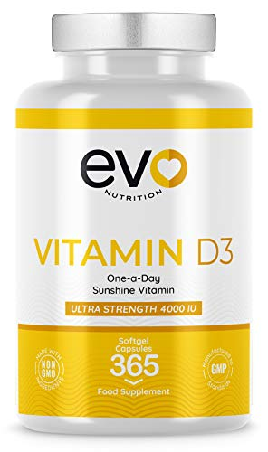 Vitamin D 4000 IU High Strength Supplement | 365 Vitamin D3 Softgels | Easy to Swallow | High Absorption Cholecalciferol | Allergen Free | Produced in The UK