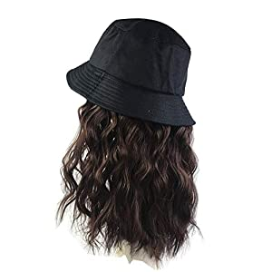 Women's Bucket Hats with Hair Extension Attached Bucket Hat Long Straight Wig Corn Wig Curly Hair Black+Black 2