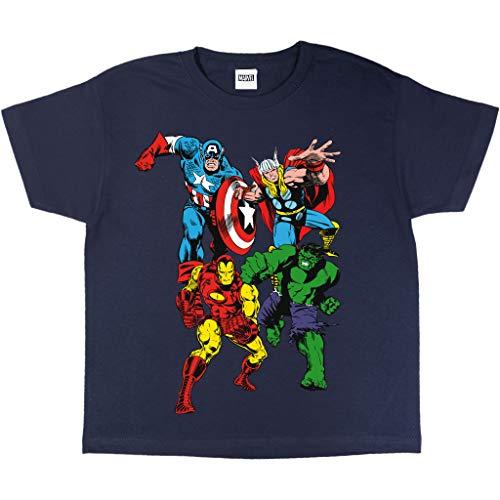 Popgear Marvel Comics Classic Characters Girls T-Shirt Navy Camiseta, Azul Marino, 5-6 Años Niñas