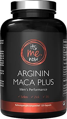 itsme.now® Arginin Maca Plus - Fitness & Lust I Kraftvoller Wirkstoff-Komplex für Männer I Natürliche Supplements für Männer I Nahrungsergänzung L-Arginin Kapseln hochdosiert vegan 120 Stück