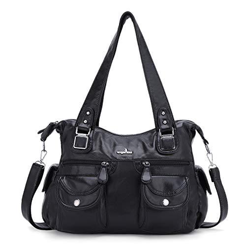 Angelkiss Umhängetasche für Damen, große wasserdichte Reise-Schultertaschen für Frauen, Schwarz (schwarz), Large
