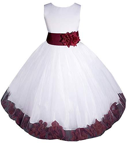 AMJ Dresses Inc Big Girls' White/burgundy Flower Dress E1008 Sz 8