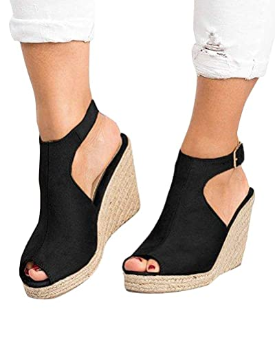 Tomwell Sandalen Damen Espadrilles Keilabsatz Wedges Schuhe Mit Absatz Sandaletten Strandschuhe Riemchensandalen Schwarz 37 EU