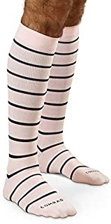 COMRAD | Premium and Stylish Compression Socks for Multipurpose Wear (Muted Rose Stripe, MED)