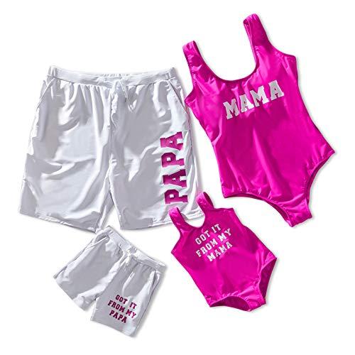 IFFEI Traje de baño a juego para la familia, traje de baño de una pieza, ropa de playa con letra impresa mamá y mí deportivo monokini traje de baño