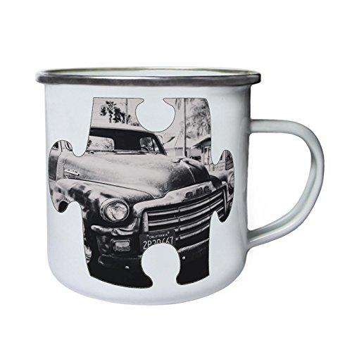 Puzzle Vintage Old Beautiful Car California Retro, lata, taza del esmalte 10oz/280ml...