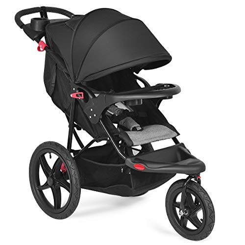 Costzon Jogger Stroller, All Terrain Lightweight Fitness Jogging Stroller w/Parental Cup Phone Holder, Free Tractive Webbing, Large Storage Basket (Black)