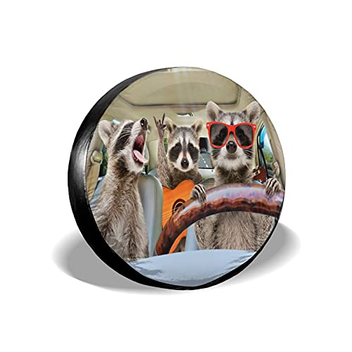 KiuLoam Three Funny Raccoon Spare Tire Cover Polyester Universal Sunscreen Waterproof Wheel Covers for Jeep Trailer Rv SUV Truck and Many Vehicles (14' for Diameter 23'-27')