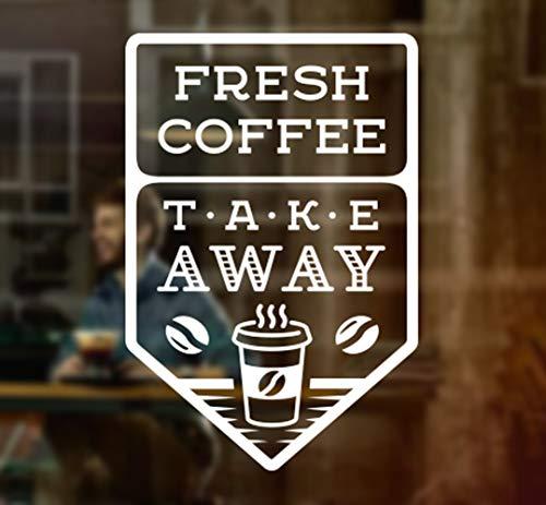 Wall4stickers Fresh Coffee Takeaway Café Fresco Comida para Llevar Ventana Signo Vinilo Pegatina Gráficos Cafetería Tienda Salón Bar Restaurante Etiqueta de Vidrio decoración de la Tienda