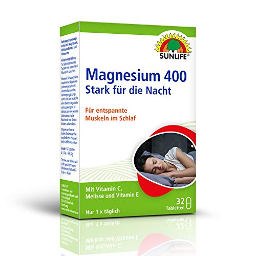 SUNLIFE Magnesium 400 Stark für die Nacht: mit Vitaminen und Melisse. Für entspannte Muskeln im Schlaf, 32 Tabletten