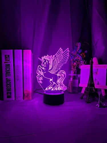 Unicornio Baby Lámpara LED 3D ilusiones neón, 16 colores, con mando a distancia, carga USB, cadena de luces para niños, decoración de dormitorio