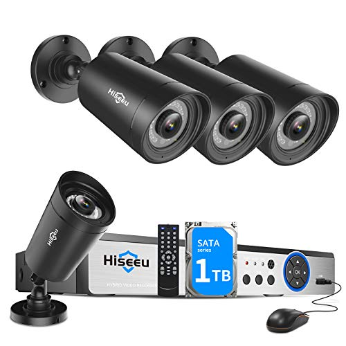 Hiseeu 5MP Security Camera System,H.265+ 8CH 5MP Home Surveillance DVR with 4Pcs 5MP Wired Indoor/Outdoor Camera,Face&Human Detection,Super HD Day/Night Recording,Free APP,1TB Hard Drive