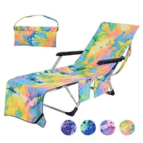 Funda de silla de playa con estampado degradado de microfibra con bolsillos laterales, sin tumbona deslizante, toalla de baño de secado rápido para exteriores, color negro