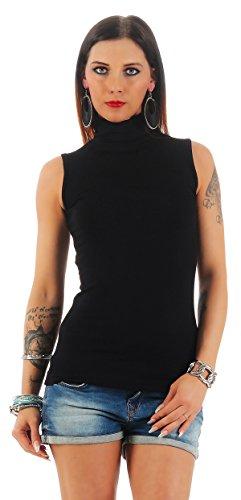 BALI Lingerie - Damen Ärmellos Shirt Rollkragen - FX010 (L/XL, Schwarz)
