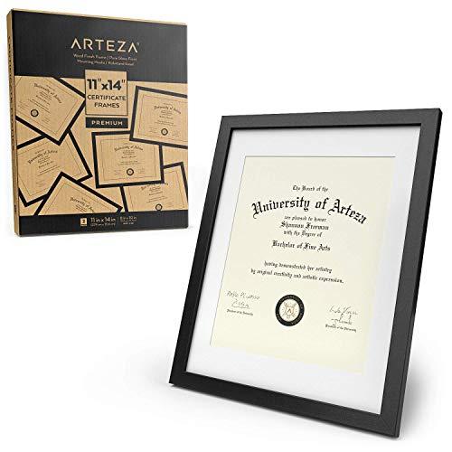 ARTEZA Zertifikatrahmen, 11x14 (27.9x35.6cm mit Passepartout) 8.5x11 22x27.9cm, 2er-Pack Bilderrahmen, Rahmen mit Holzoptik, Vorderseite aus reinem Glas, Fotorahmen für Wand und zum Aufstellen