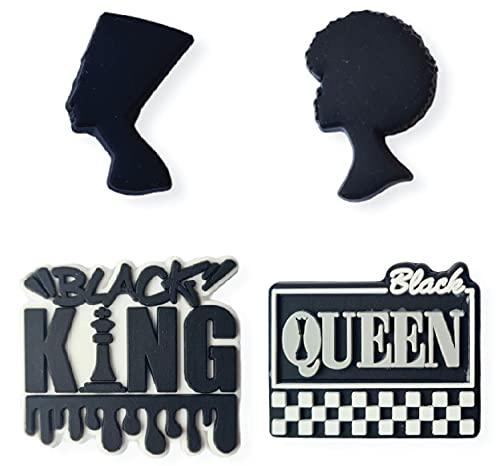 BLM Black Queen Black King Blessed Vibes Schuhanhänger 4 Stück Set verschiedene Designs Schuhanhänger Schuhclip Zubehör L2