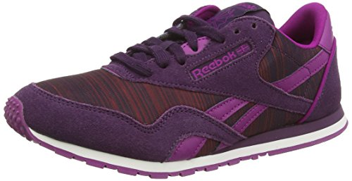 Reebok Damen Classic Leather Nylon Slim Geo Sneakers, Violett (Rylorchid/Frcfuchsia/Nghtvlt/Rbrry/Bnpnk/Wht), 38.5