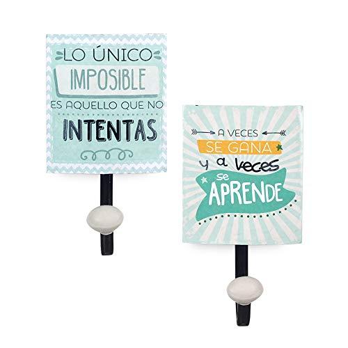 Vidal Regalos Percha Pared x2 Mensajes Metal 21 cm