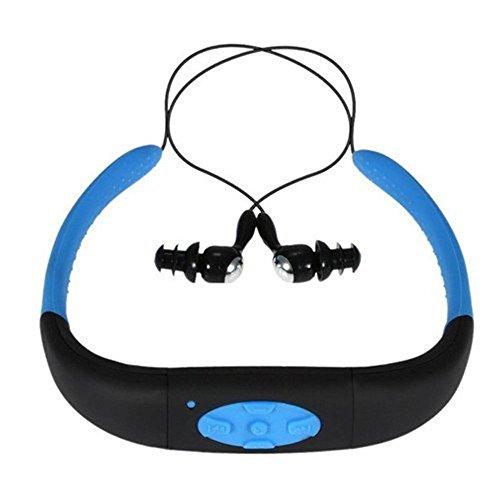 Sport - MP3 voor hardlopen, waterdicht, MP3-speler, hoofdtelefoon met FM-radio, zwemmen, surfen en duiken, 8 GB geheugen (blauw)